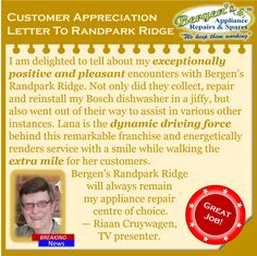 Well done Lana du Toit and the Randpark Ridge branch Crew for excellent service and for great customer relationships. Your dedication keeps those customers coming back.  #greatjob #customerservice #customersatisfaction #wekeepthemworking #bergensappliances #repair #randparkridge  Randpark Ridge Branch Follow us on Instagram and Pinterest WhatsApp:   082 556 9086 Email:   randpark@bergens.co.za Appliance Repair, Customer Appreciation, New Man, Bergen, To Tell, Customer Service, Comebacks, Relationships, Positivity