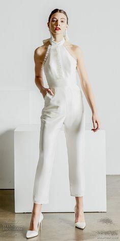 sebastien luke spring 2019 bridal halter high neck simple minimalist modern ankle jumpsuit wedding dress open back (4) mv