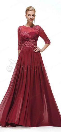 Modest Burgundy Long Prom Dresses Three Quarter Sleeves, Evening Dresses, Mother of the Bride Dresses, Modest bridesmaid dresses with sleeves from ebprom