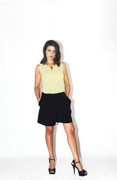 #DIESSE #SpringSummer2016 #Sleeveless short overalls, round neck, color block print #model #StellaScorzo #photographer #MariannaDepasquale #designer #DiegoSalerno   http://www.diessefashion.it/