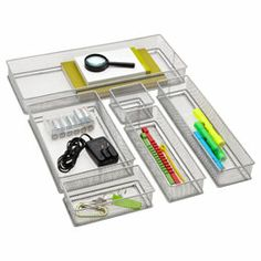 The Container Store  Silver Mesh Drawer Organizers.  There's no need for any drawer in your home to be in a chaotic tumble.  Whether it's mesh, plastic or wood there's a drawer organization system to fit your budget and your decor.