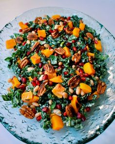 Roasted Butternut Squash Kale Salad with Cannellini Beans, Pomegranate, and Toasted Pecans with a Lemon Tahini Maple Dressing (Vegan, Gluten-Free) Winter Salad Recipes, Kale Salad Recipes, Vegetarian Recipes, Healthy Recipes, Vegetarian Grilling, Healthy Grilling, Squash Salad, Cabbage Salad, Roasted Vegetables