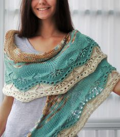 Knitting Pattern for Ida Shawl - This shawl with stockinette stripes and sections of lace at the bottom is knit from the top center downwards so it could easily be customized and knit in other weights of yarn and to any size you please. Designed by April Miller. Aran weight yarn.
