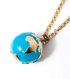 FLOTSAM & JETSAM Brass Enameled Globe Necklace 220