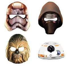 Give the Jedi Knights in training treat bags loaded with fun with these Star Wars Party Masks. These Star Wars Masks include cut outs of favorite characters from Star Wars: Episode VII The Force Awakens, including Captain Phasma, BB-8, Chewbacca and Kylo Ren. Use these Star Wars character masks as photo booth props, an addition to a Star Wars Halloween costume, or wear them at the next Star Wars birthday party.