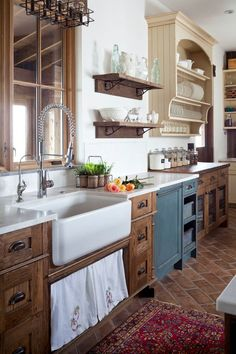 farmhouse-kitchen country rustic sink Saltillo tile in a running bond application touch free faucet pinterest inspiration shop room ideas