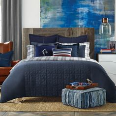 Shop for Tommy Hilfiger Academy Navy Duvet Cover. Get free delivery On EVERYTHING* Overstock - Your Online Fashion Bedding Store! Get in rewards with Club O! Navy Comforter, King Comforter, Comforter Sets, Gray Bedding, Modern Bedding, Luxury Bedding, Tommy Hilfiger, Couple Bedroom, Quilt Cover Sets