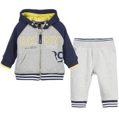 Baby boys grey marl and navy blue tracksuit by DKNY.