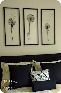 Dandelions in floating frames in the spare room