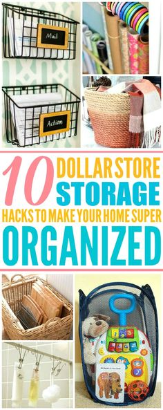 These 10 dollar store storage hacks for every room are THE BEST! I'm so glad I found these GREAT tips! Now I have great ways to keep my home clean and organized! Definitely pinning!