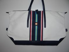 Tommy Hilfiger Unisex White/Navy Large Canvas/Leather Tote/Travel Bag/Handbag