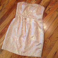 Kimchi Blue Strapless Gold & Blush Dress Vibrant gold strapless dress, polyester lining. Anthropologie Dresses Strapless