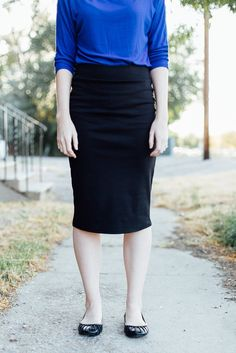 Cleo Madison- Black pencil skirt close up