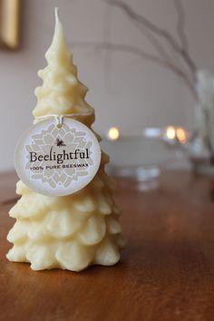 Christmas Tree Candle Pure Beeswax Beelightful candles on Etsy Beeswax Candles, Diy Candles, Scented Candles, Honey Favors, Hives And Honey, Christmas Tree Candles, Candle Packaging, Candle Craft, Candle Shop