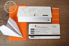 Faire-part mariage aero by pastillesetpetitspois.fr , format ludique pochette et billet avion pour mariage thème voyage, ultra tendance !