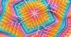 5 rainbow colourways to use in your next crochet project! Crochet Quilt, Crochet Blocks, Crochet Squares, Crochet Granny, Baby Blanket Crochet, Crochet Motif, Crochet Stitches, Crochet Baby, Crochet Patterns