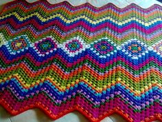 Granny squares down the middle, chevrons out to the edges!