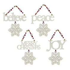 $119.34-$204.00 Grasslands Road Season of Wonder Christmas Sugar Glitter and Bead Snowflake Ornaments, Set of 24 - Grasslands road Season of wonder believe/peace/joy/merry christmas sugar glitter and bead ornaments four styles, set of 24. Share joyful messages with friends, family, neighbors and office mates this holiday season. Place atop gifts or gift bottles, or fill your tree with sugar glit ...