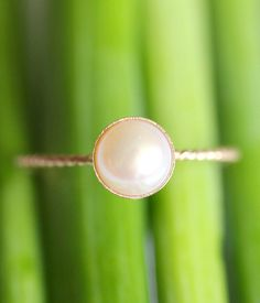 White Akoya Pearl 14K Gold Ring Stacking Ring by louisagallery