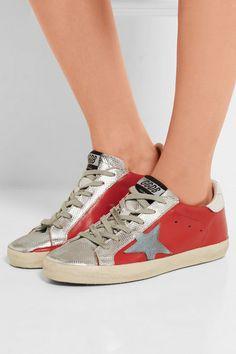Golden Goose Deluxe Brand | Super Star metallic distressed leather sneakers | NET-A-PORTER.COM