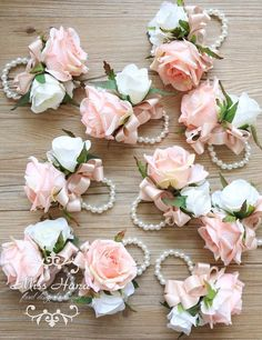 Blush Pink Rose Wrist Corsage Bridesmaid by MissHanaFloralDesign Prom Flowers, Bridal Flowers, Wedding Centerpieces, Wedding Decorations, Wedding Ideas, Trendy Wedding, Elegant Wedding, Diy Wedding, Wedding Inspiration