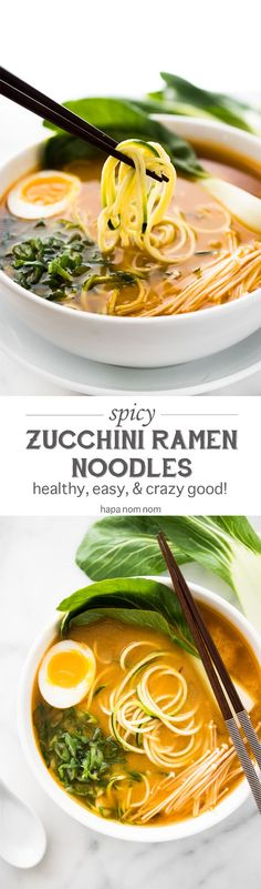Do you love ramen, but don't want to spend all day making it? Then may I introduce Spicy Miso Zucchini Ramen Noodles. Healthy and full of flavor, it's on the table in just 30 minutes! No egg.