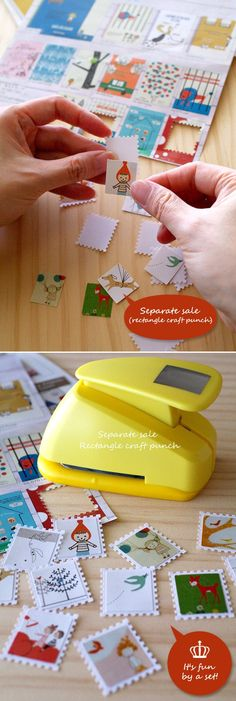 stamp punch. Can make stamps with birthday cards, scrapbook paper, etc. to use in layouts