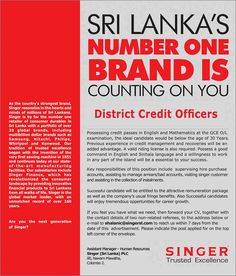 Contact Centre Officer at Singer (Sri Lanka) PLC Career First Jobs For School Leavers, Accounting Jobs, Count On You, Country Strong, First Contact, In The Heart, Number One, Sri Lanka, Mathematics