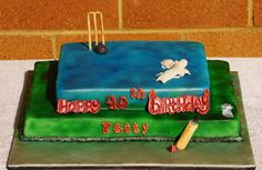 Another lastminute simple birthday cake for a cricket crazy cousin of mine asked by his Mom to make :-). Cricket Birthday Cake, 40th Birthday Cakes, Crazy Cousins, Cake Creations, Simple, Desserts, Food, Tailgate Desserts, Deserts