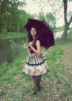 Stripe Lolita Skirt - Gothic Black, Brown or Red Circus Print Skirt Made To Order