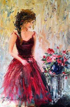 Art print of Original Oil Painting Feminine Romantic Woman Figure Red Roses Impressionist 11x14