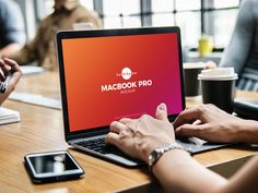 Free Person Using Macbook Pro Mockup Psd by Free Mockup Zone