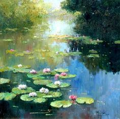 Idea for textures, expressionist paintings of nature, nature and layering Water Lilies Painting, Lotus Painting, Lily Painting, Watercolor Landscape, Landscape Art, Landscape Paintings, Watercolor Paintings, Paintings I Love, Beautiful Paintings