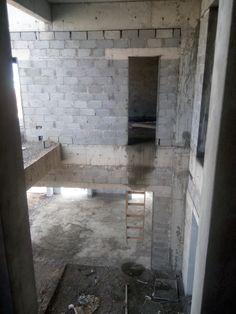 look down into leveling floor from ground floor