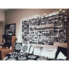 Dorm Room B W Photos Text On A Tall Neutral Headboard With B W