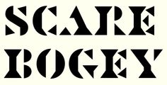 Negative space serif headline type with blocky edges.