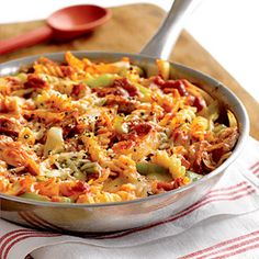 To save a dish, be sure to use an ovenproof skillet when making this 30-minute recipe. Add the pasta, sauce, and cheese to the sauteed sausage, peppers, and onions and bake in the skillet until hot and bubbly.