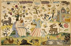 17th century silk and metallic thread embroidery with raised work details depicting scenes from the Life of Abraham.