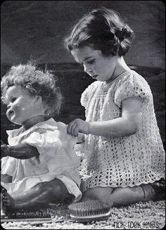 little girl in a crocheted dress, 1944 ..