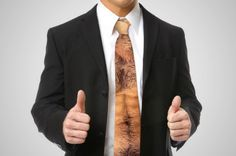 hairy-chest-tie: Perfect for a casual or funny-tie Friday, a great party item and definitely something that rids the guy of the necessity to strip down in order to demonstrate what's underneath his shirt.