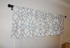 Curtain Valance Topper Window Valance 52x15 Covington Blue White Geometric Valance