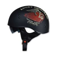 Torc T55 Lucky 13 Wing Tank Flat Black Half Helmet
