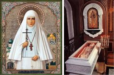 Icon of Grand Duchess Elizabeth Feodorovna and her Tomb at the St. Mary Magdalene church in Jerusalem.