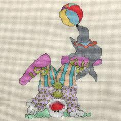 Tumbling Clown Cross Stitch Pattern by StitchNotions on Etsy, $3.00
