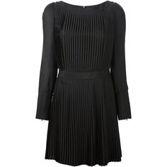Emporio Armani Pleated Dress ($543) ❤ liked on Polyvore featuring dresses, black, sheer long sleeve dress, black silk dress, short dresses, short black dresses and short long dresses