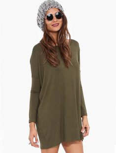 Olive Green Long Sleeve Tunic -A loose fit allows you to feel your best, because skin tight isn't always alright! The silky soft fabric feels great against the skin, especially after a long day at the beach. Get funky and cinch the waist of this slightly oversize dress with a chain belt or accessorize with a long necklace and lightweight jacket. #olivetunic