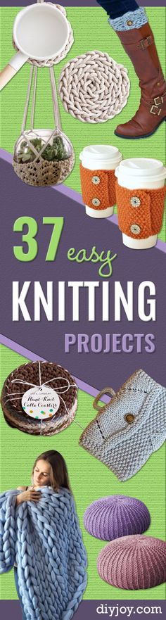 38 Easy Knitting Ideas - Knitting Ideas For Beginners, Cute Knit Projects, DIY Knitting Ideas And Patterns, Easy Knitting Crafts, Gifts You Can Knit, Knitted Decors http://diyjoy.com/easy-knitting-ideas