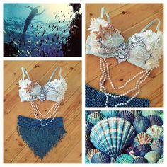 Haven't stopped cranking out mermaid bras for Halloween! to make a custom order or view premade outfits and costumes, message me on etsy! link in bio