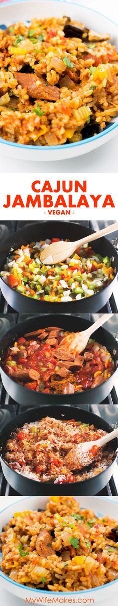 Easy Cajun Jambalaya, a delicious Vegan recipe chock-full of flavor and goodness, with just the right amount of spicy!