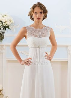 Empire Scoop Neck Sweep Train Lace Beading Chiffon Lace Up Regular Straps Sleeveless Church Beach Hall Garden / Outdoor Reception No Spring Summer Fall Ivory White Wedding Dress